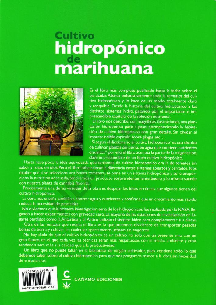 Contraportada del libro Cultivo hidroponico de marihuana