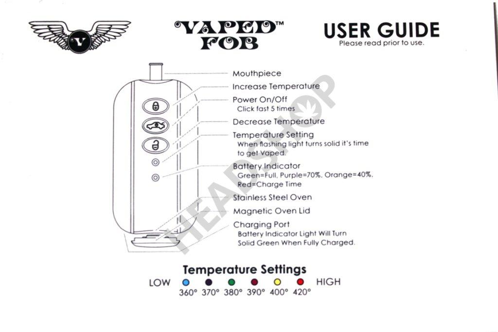 Detalle de las instrucciones del vaporizador FOB