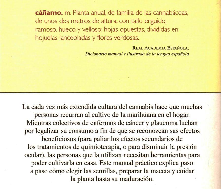 Contra portada de Manual de cultivo de la marihuana