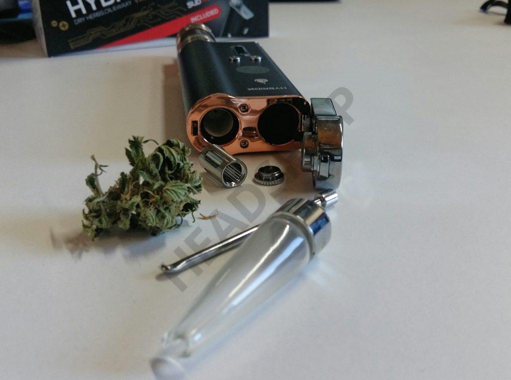 Componentes del Flowermate Hybrid X para la vaporización de marihuana